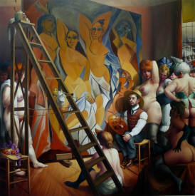 Thierry BRUET - LES DEMOISELLES DE TOULOUSE  OIL ON CANVAS 200 X200 CM THIERRY BRUET2013