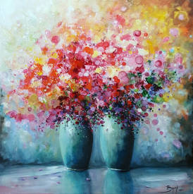 Eric BRUNI - Flowers of  Happiness - 50x50cm - Artiste peintre français BRUNI