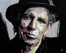 "Jean Jacques VENTURINI - Keith Richards -"" Newspaper'art"""