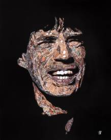 "Jean Jacques VENTURINI - Mick Jagger paper  -"" Newspaper art"""